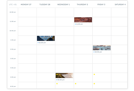 Visualize your future posts. See all of your scheduled content on the calendar